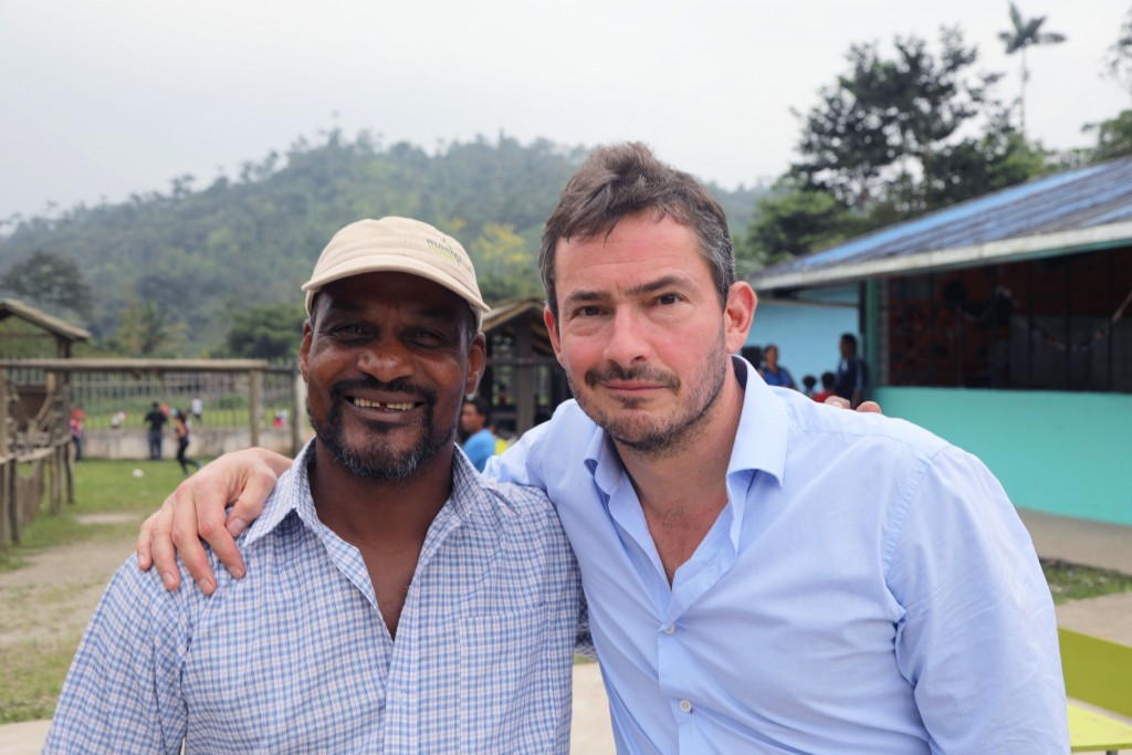 Programme Name: Amazing Hotels: Life beyond the lobby - TX: 02/04/2017 - Episode: Amazing Hotels: Life beyond the lobby - Ecuador (No. 2) - Picture Shows: Staff member of Mashpi lodge with Giles Coren, Ecuador - (C) BBC - Photographer: BBC