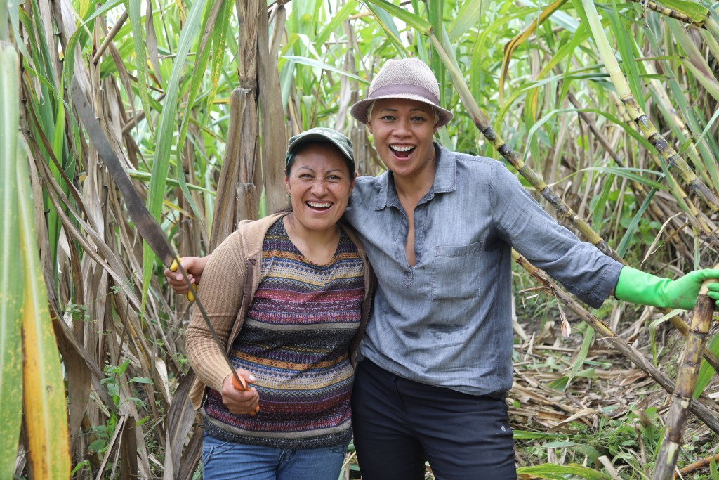 Programme Name: Amazing Hotels: Life beyond the lobby - TX: 02/04/2017 - Episode: Amazing Hotels: Life beyond the lobby - Ecuador (No. 2) - Picture Shows: Staff member of Mashpi lodge with Monica Galetti in vegetation fields, Ecuador - (C) BBC - Photographer: BBC