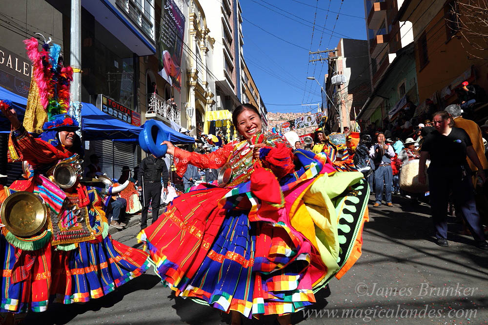 Female waca waca dancer at Gran Poder festival, La Paz, Bolivia