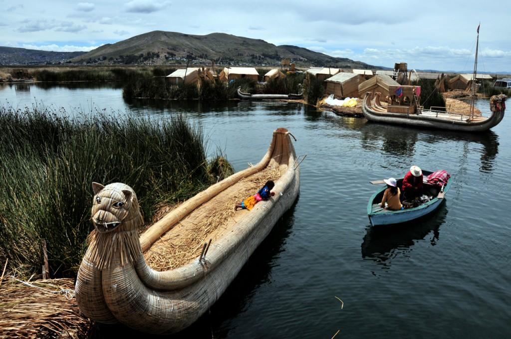 Peru - Boats on Lake Titicaca